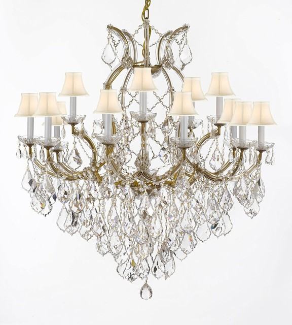 """Gallery T22-2528 Maria Theresa 16 Light 37"""" Wide Crystal Chandelier with Fabric"""