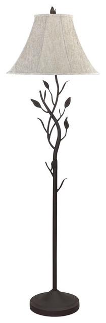 150w 3 Way Hand Forged Iron Floor Lamp, Black Finish, Gray White Shade.