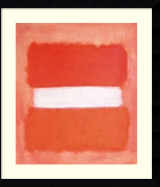 """Framed Art Print 'White Center, 1957' by Mark Rothko, Outer Size 33""""x37"""""""