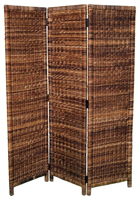 Birdrock Home 3 Panel Abaca Room Divider
