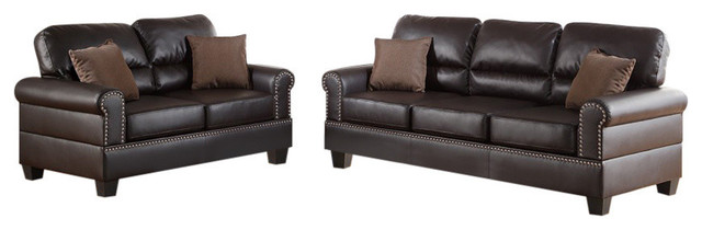Leather 2-Piece Sofa Set With Pillows, Brown.