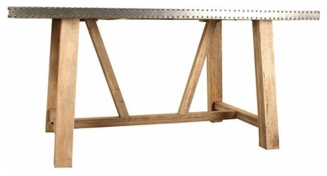 Cube Zinc Studded Dining Table, 180 Cm
