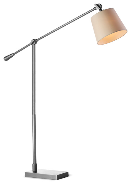 "M.r. Lamp And Shade&x27;s 53-61"" Adjustable Metal Floor Task Lamp, Satin Nickel."