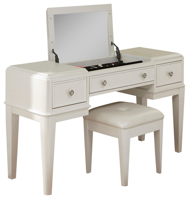 Liberty Furniture Stardust Bedroom Vanity, Iridescent White Transitional  Bedroom And Makeup