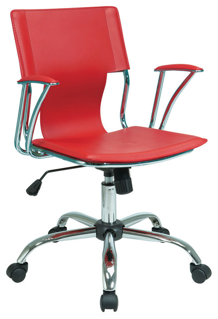 Dorado Office Chair With Fixed Padded Arms And Chrome Finish In Red.