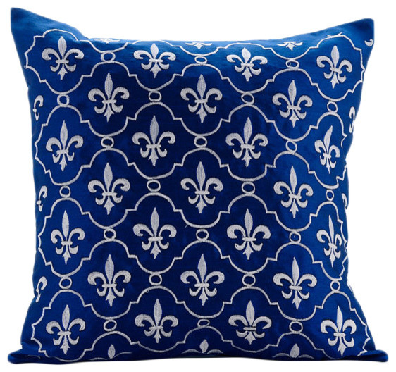 The HomeCentric - Boroque Royal Blue Pillow Covers, Art Silk Pillow Cover, French Vanilla - View ...