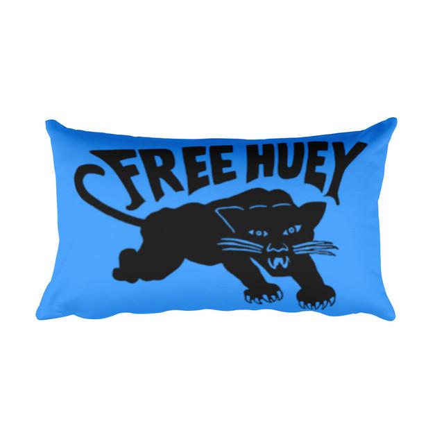 Blue Free Huey Black Panther Logo Flag Rectangular Pillow
