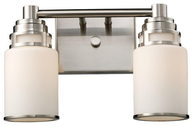 Satin Nickel Ceiling Lights Bathroom Vanity Chandelier: 2-Light LED Satin Nickel Vanity Bathroom Light Fixture