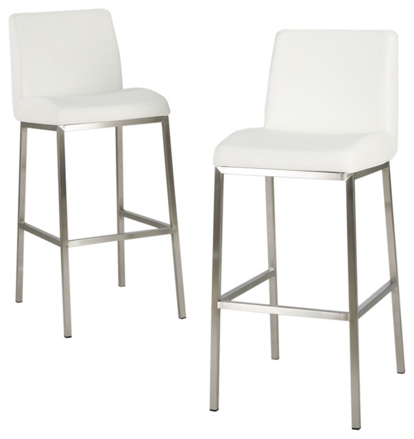 Jalen White Leather Bar Stools Set Of 2 Contemporary Bar Stools