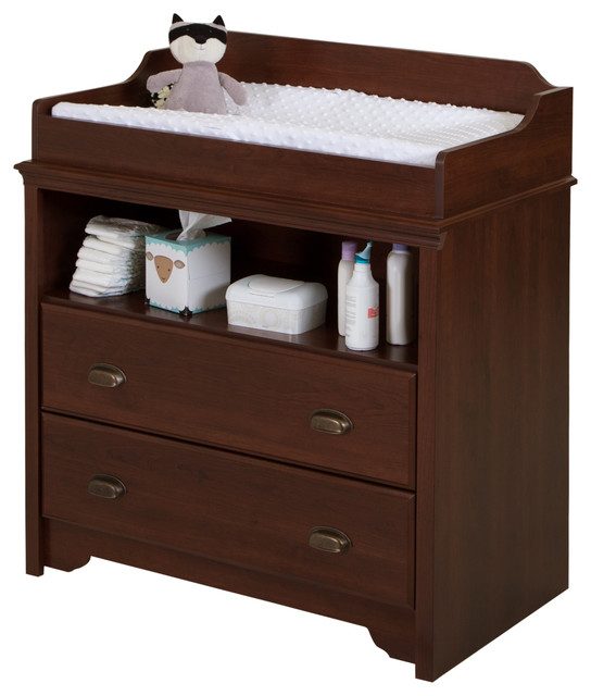 South Shore Fundy Tide Changing Table, Royal Cherry Traditional Changing  Tables