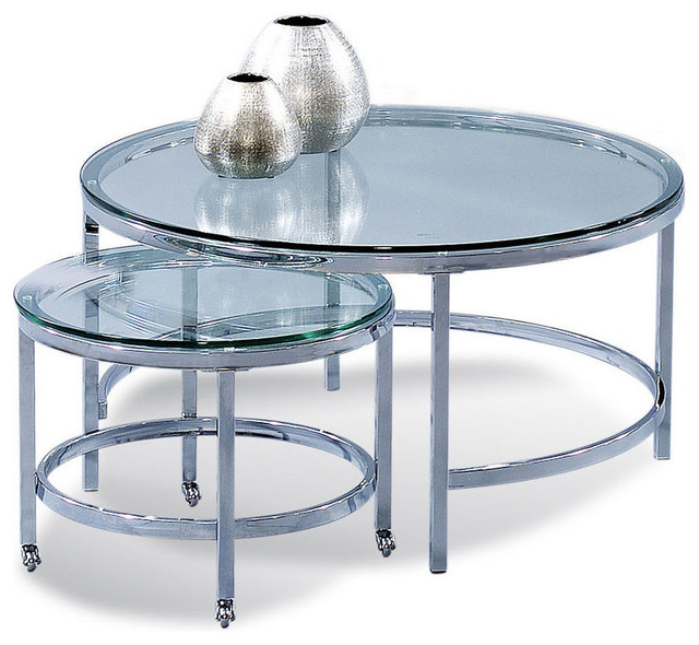 Bassett Mirror T1792 120C Patinoire Round Cocktailw/ Nesting Table  Transitional Coffee Table
