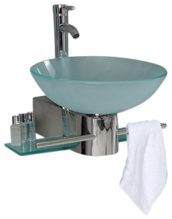 "17.63"" Cristallino Glass Vanity, Frosted Vessel Sink Livenza Chrome Faucet."