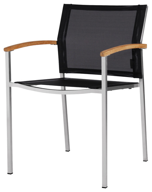 Zix Stacking Chair, Black, Arm Chair Contemporary Outdoor Dining Chairs