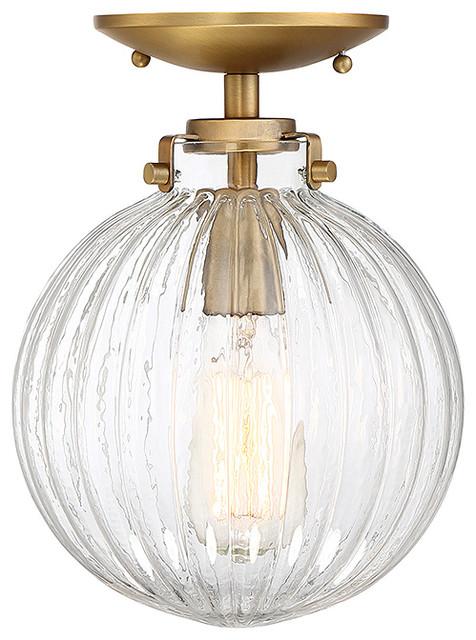 1-Light Semi Flush, Natural Brass.