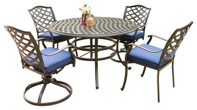 Fletcher 5-Piece Outdoor Aluminum Dining Set With Cushions, Blue Olefin