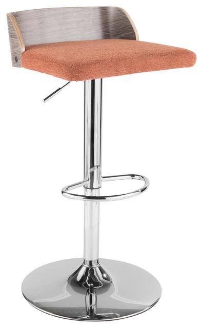 LumiSource Maya Adjustable Barstool, Light Gray Wood and Orange