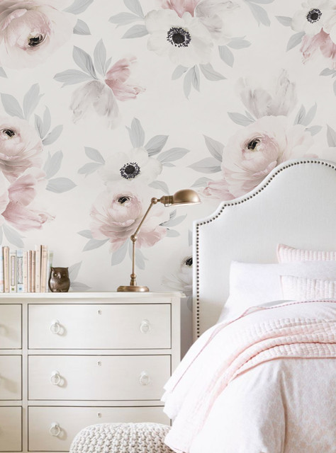Floral Mural Wall Art Wallpaper Peel And Stick Contemporary Wallpaper By Simple Shapes