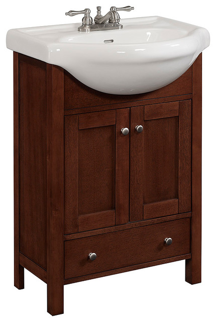 24 Quot Wide Wood Vanity With White Vitreous China Top Walnut