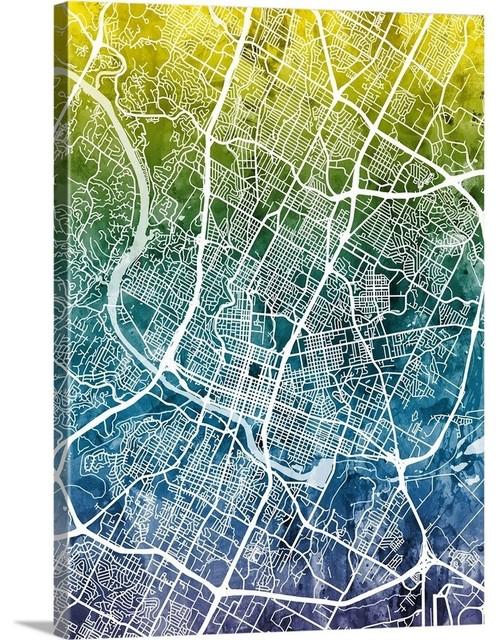Austin Texas City Map Wrapped Canvas Art Print, 18