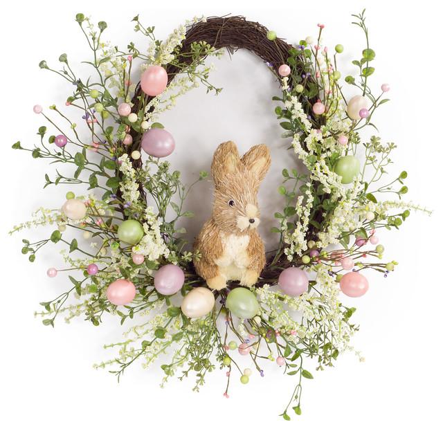 "Egg/rabbit Wreath 22""d Foam/plastic."