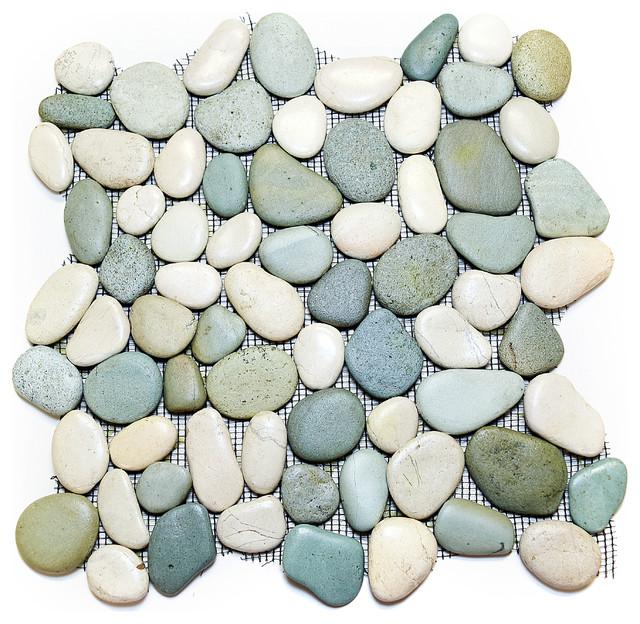 "12""x12"" Glazed Green and White Pebble Stone Tile Sheet"