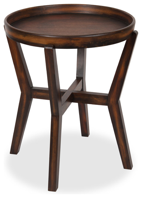 Arkdale Round Accent Table With Removable Tray Top Dark Walnut Brown