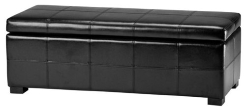 Safavieh Madison Storage Bench Large, Black Leather