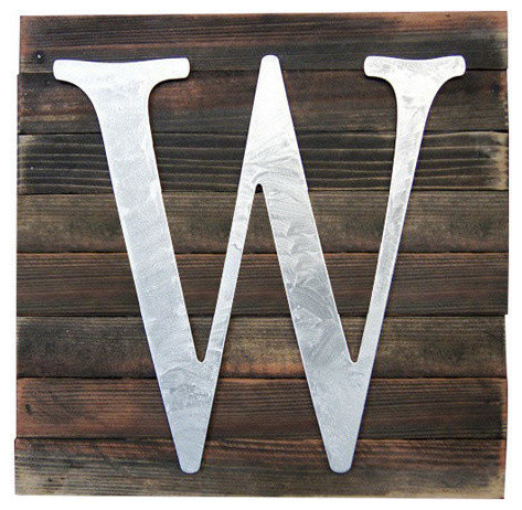 A-Z Monogram, Natural Color Letter Mounted On Rustic Wood Board Natural, W.