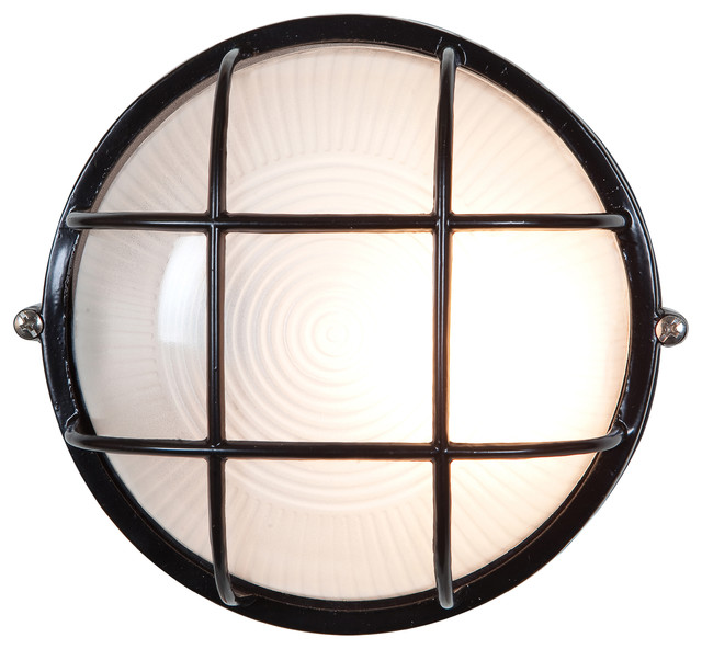 Nauticus Wet Location Bulkhead, Incandescent, Black With Frosted.