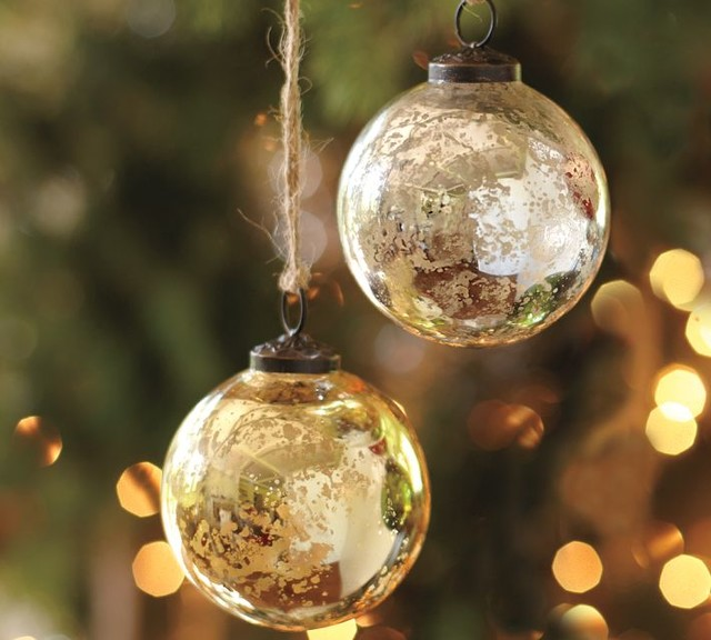 Traditional Glass Christmas Tree Ornaments : Mercury glass ball ornaments silver and gold