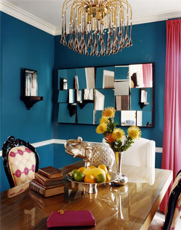 Peacock blue dining room contemporary dining room