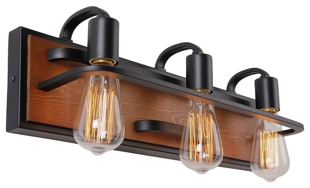 Oak Wood 3-Light Vanity Light.