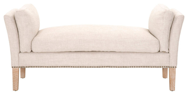 Upholstered Bench, Bisque Cream. -1