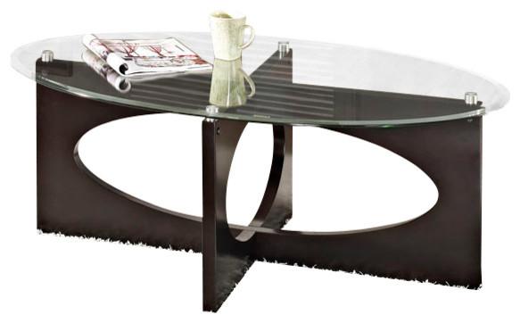 Standard Furniture Dania 3-Piece Oval Glass Top Coffee Table Set In Dark Merlot.