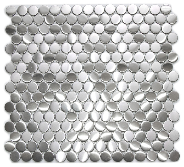 Penny Round Pattern Mosaic Stainless Steel Tile Contemporary