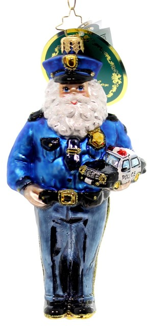 Police Christmas Ornaments.Christopher Radko Courageous Nick Glass Ornament Law Enforcement 2016 1018492