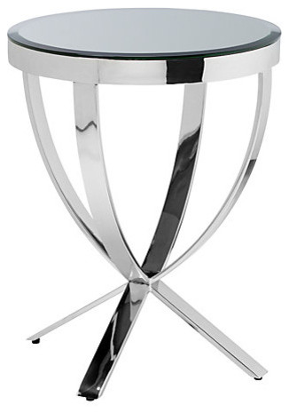 Pompeii Stainless Steel Side Table With Mirrored Top.