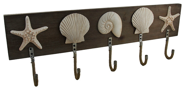 5 hook seashell design wooden wall rack beach style coatracks and umbrella - Wooden Wall Rack Designs