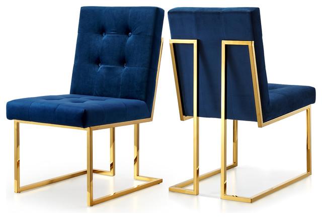 Pierre Velvet Dining Chair, Set of 2, Navy