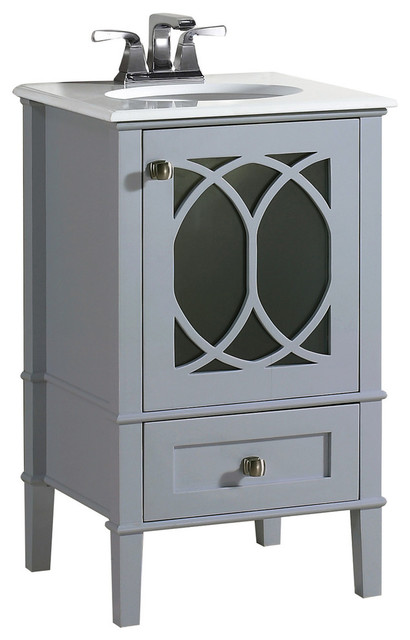 "Adeliza Vanity With White Quartz Marble Top, Gray, 20""."
