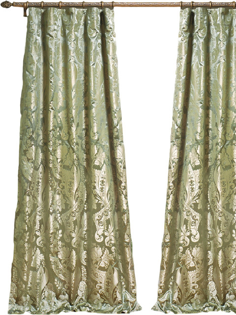 Deca Silk Curtains, Green, 84x52.