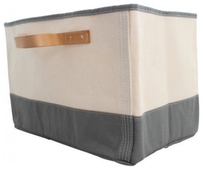 Monogrammed Tub Storage Bin With Leather Handle, Gray.
