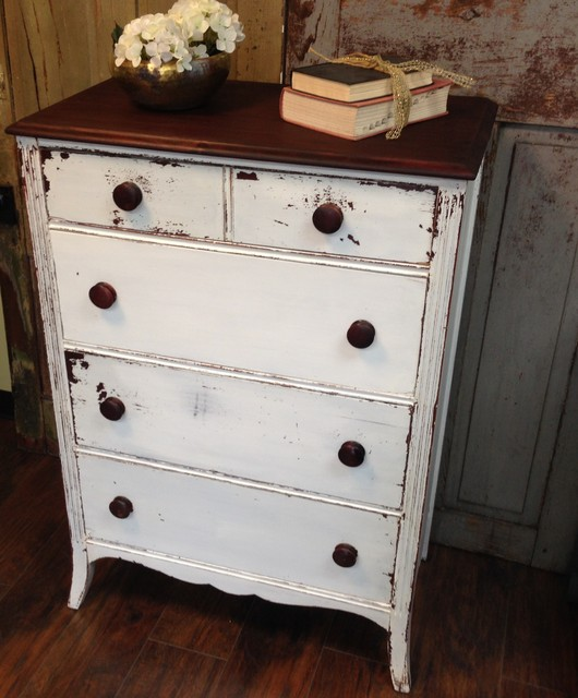 Vintage Dresser Chest Of Drawers White Tall
