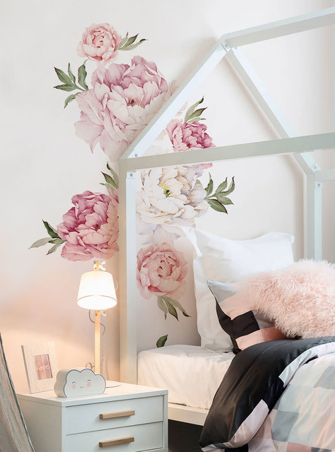 Peony Flowers Wall Sticker, Mixed Pink.