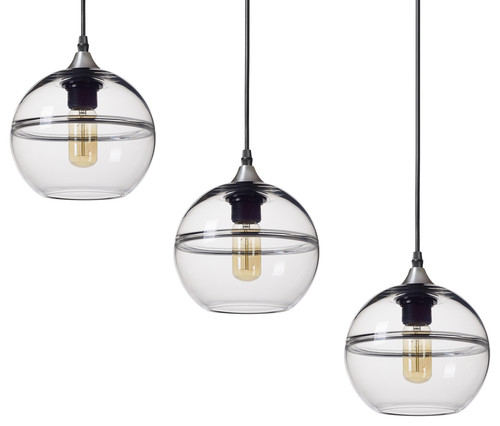 Unique Optic Hand Blown Glass Geometric Pendant Lights, Brushed Nickel, Set of 3, Clear