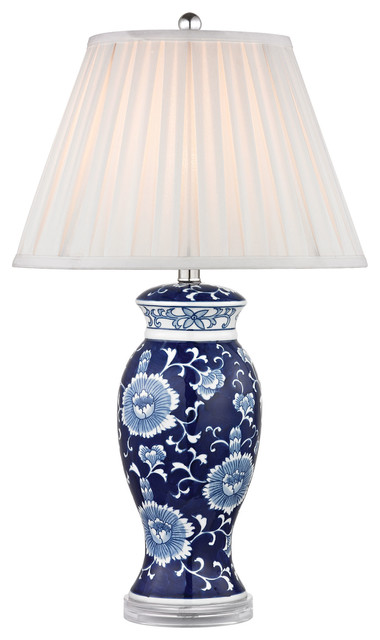 """28"""" Blue & White Ceramic Table Lamp, Hand Painted Blue And White."""