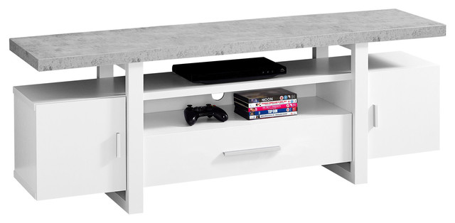 Tv Stand With Cement-Look Top, White.