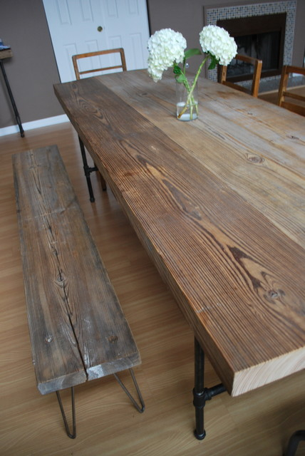 reclaimed wood and steel pipe leg table and hairpin leg. Black Bedroom Furniture Sets. Home Design Ideas