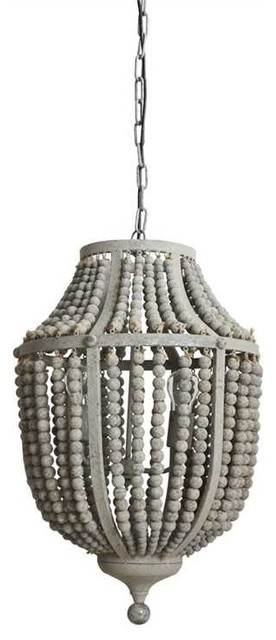 Gray Wood Bead And Metal Chandelier Beach Style