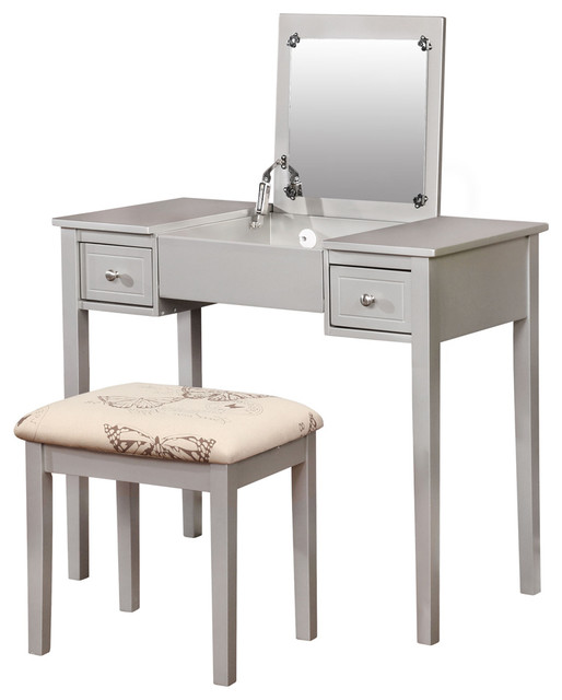 Linon Home Decor Products   Silver Butterfly Vanity Set   Bedroom U0026 Makeup  Vanities